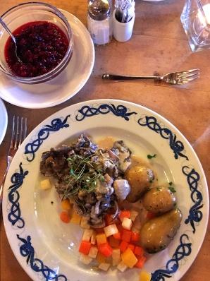 """Finnbiff"" or reinder served much like beef stroganoff alongside the ever popular potato."